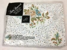 NEW Lady Pepperell Vtg Filigree Floral Full Flat Bed Sheet Muslin White Tan Blue
