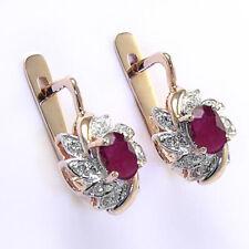 14k Rose & White Gold Diamond Ruby Russian Earrings #E1189