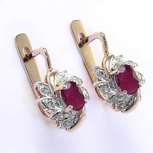 14k Rose & White Gold Diamond Ruby Russian Style Earrings #E1189