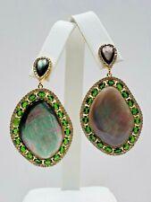 Rarities Black Mother-of-Pearl, Chrome Diopside Drop Sterling Silver Earrings