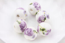 10pcs Round Floral Chinese Porcelain Loose Spacer Beads Jewelry Makings 12mm