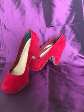 Ladies Red Suade Shoes 4