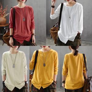 Boho Womens Long Sleeve Cotton Kaftan Ladies Baggy Loose Blouse Tee Shirt Tops