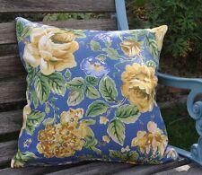 "New 16"" reversible zipped linen cushion vintage Laura Ashley blue/yellow roses"