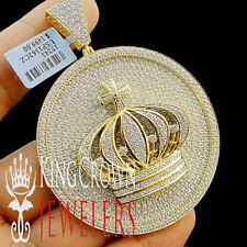Real 10K Yellow Gold On Silver Lab Diamond Kings Crown Pendant Medallion XL 3''