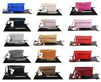 Italian Suede Leather Ladies Womens Clutch Wrist or Shoulder Bag Handbag