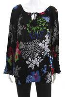 Desigual Womens Long Sleeve Floral Keyhole Blouse Black Size Extra Large