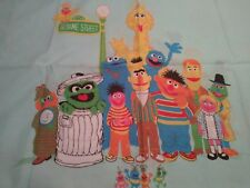 RARE SESAME STREET TWIN SHEET & 2 PILLOWCASES Sherlock Guy Smiley Fabric HTF EC