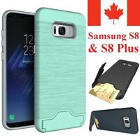 For Samsung Galaxy S8 / Plus Case - Shockproof KickStand Card Slot Wallet Cover