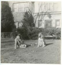 1940s Photo Chubby Little Girl Collie Dog Puppy Swings Mathews Tudor Home Mo #2