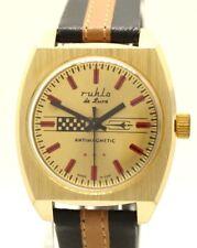 Ruhla de Luxe Men's Watch Mechanic Gold Red Brown Black Caliber 24 Umf Germany