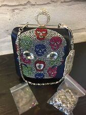 SKULL DIAMANTE KNUCKLE RINGS EVENING/CLUTCH BAG PARTY WEDDING GOTH PUNK GIFT