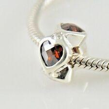 Heart Shape Cubic Zirconia Stones Charm Bead 925 Sterling Silver