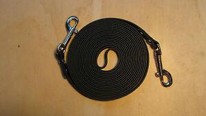 Langzügel Langer Zügel Biothane Karabiner, schwarz, geschmeidig 4-8m , 2 Breiten