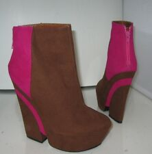"Privileged Brown/Pink 5.5"" Heel 2"" Platform Sexy Ankle Boot Size 7.5"