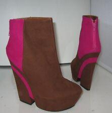"privilege  Brown/Pink 5.5""High Heel 2""Platform Round Toe  sexy Ankle Boot Size 9"