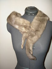 VINTAGE SILVER GRAY PLATINUM  MINK  FUR STOLE PELTS COLLAR SCARF COAT WRAP