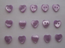 Lilac Pearlised Heart Buttons ( Small )  x 15