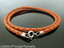 """3mm Orange Braided Leather & Sterling Silver Necklace Or Wristband 16"""" 18"""" 20"""""""