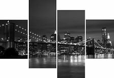 Large 4 Piece Panel Set Wall Art Canvas Pictures New York Black White Grey Print