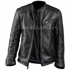 Mens Black Cafe Racer Biker Slimfit Classic Diamond Motorcycle Leather Jacket
