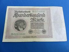 1923 WEIMAR REPUBLIC GERMAN 100,000 MARK BANKNOTE REICHBANKNOTE