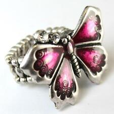 Butterfly Stretch Ring Pink Clear Crystal Silver Alloy Enamel