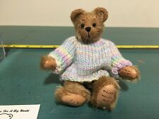 World Of Miniature Bears Robert with Easter Pastel Sweater Mohair Bear #633
