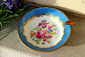 Gorgeous French Sevres Limoges porcelain marked Floral hand paint Ashtray 1960
