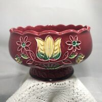 Vintage Napcoware Maroon Pedestal Dish Wide Tulip Vase Planter Yellow Flower