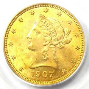 1907 Liberty Gold Eagle $10 - Certified PCGS MS62 (BU UNC) - Rare Coin!