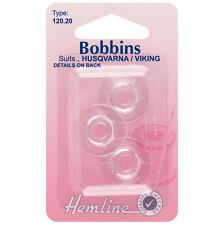 Hemline plastique bobines-husqvarna/viking concave canettes-pack de 3