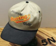 """""""I'D RATHER BE RACING"""" SNAPBACK HAT BEIGE AND BLACK IN VERY GOOD CONDITION"""