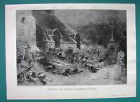CEMETERY Living Defend Fallen Dead French Chouan Revolt - VICTORIAN Era Print