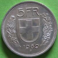 SUISSE 5 FRANCS 1969 B ARGENT