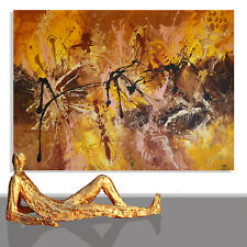 ABSTRACT PAINTINGS # MODERN ART WALL BROWN COLORS CANVAS COLOR UNIQUE * 78 x 55