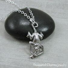 Silver Monkey Charm Necklace - Monkey with Banana Jungle Pendant Jewelry NEW