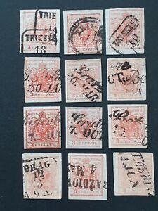 AUSTRIA 12 stamps 3kr 1850 - 1854 nice cancel including TRIESTE