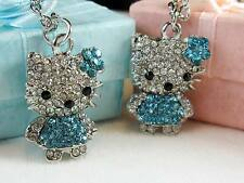 Hello Kitty Aqua Rhinestone Crystal Silver Tone Pendant & Necklace Easter USA
