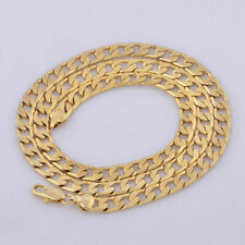 """Yellow Solid Gold Filled Cuban Chain Necklace 20"""" 7mm Men's jewelry Women T J6U6"""