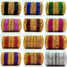 Fashion Gold Tone Colored Indian Traditional Kids Bangles 24pcs Set Size 2.2