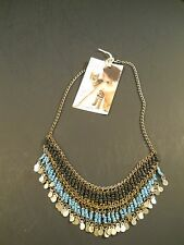 colored Beads - Gold-colored charm Old India Tribal Necklace – Black/Turquoise