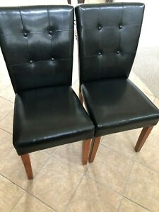 Solid Wood and Brown Faux Leather Dining Chair Set of 2