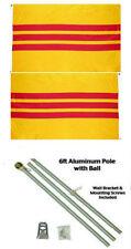 3x5 South Vietnam Vietnamese 2ply Flag Aluminum Pole Kit Ball Top 3'x5'