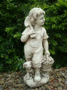 Statue Country Boy w Puppy Sculpture Figurine Ornament Feature Garden Decor 28X2