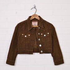 True Religion Jimmy Crop Brown 3/4 Sleeve Corduroy Denim Jean Jacket Coat XS