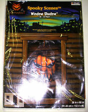 "Spooky Scene Window Shadow Black Pumpkin Face 36"" x 60's NIP"