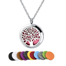 Long Way Tree of Life 316L Essential Oil Diffuser Necklace Pendant Jewelry Chain