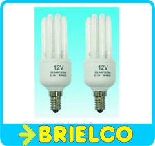 2 X LAMPARA BAJO CONSUMO BOMBILLA 12V 15W LUZ DIA E14