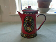 Vintage Canal Art Enamel Coffeepot  Red Decorated With Roses